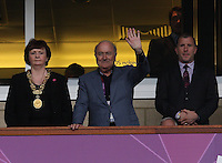 Women's Olympic Football match Sweden v France on 3.8.12...Sepp Blatter, FIFA President (centre) with The Rt Hon The Lord Provost of Glasgow, Councillor Sadie Docherty and SFA President Stewart Regan before the Women's Olympic Football match, Sweden v France at Hampden Park, Glasgow.............