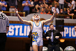CLEVELAND, OH - MARCH 10: Jay Albis, of Johnson & Wales, celebrates after winning his match in the 125 weight class during the Division III Men's Wrestling Championship held at the Cleveland Public Auditorium on March 10, 2018 in Cleveland, Ohio. Albis went on to win first place in the 125 weight class. (Photo by Jay LaPrete/NCAA Photos via Getty Images)