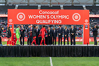 CARSON, CA - FEBRUARY 9: Canada crosses the stage during a game between Canada and USWNT at Dignity Health Sports Park on February 9, 2020 in Carson, California.