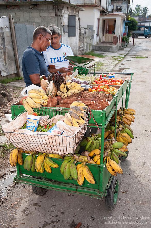 Finca La Vigia, San Francisco de Paula, Cuba; a street vendor sells fruits and vegetables from a cart outside the entrance to the Hemingway Museum