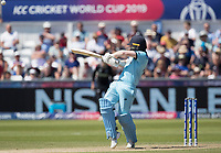 Eoin Morgan (England) pulls behind square for four during England vs New Zealand, ICC World Cup Cricket at The Riverside Ground on 3rd July 2019