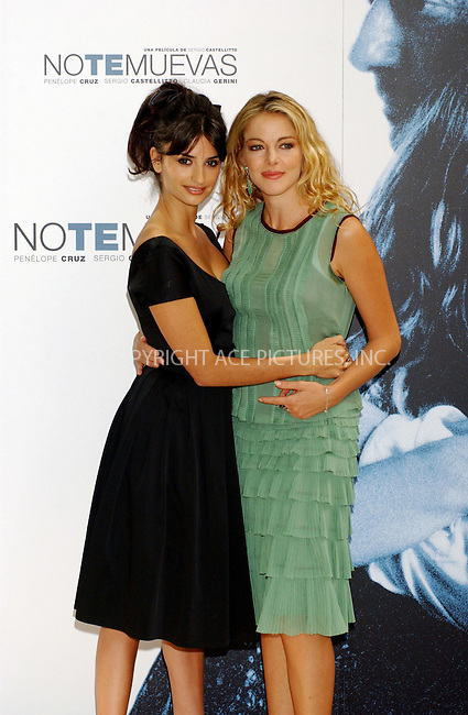 Penelope Cruz and Claudia Gerini at a photocall to promote Italian Film 'Non ti muovere' at the Santo Mauro Hotel, in Madrid, 15 September 2004...FAMOUS.PICTURES AND FEATURES AGENCY.tel  +44 (0) 20 7731 9333.fax +44 (0) 20 7731 9330.e-mail info@famous.uk.com.www.famous.uk.com.FAM13548