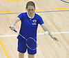 Samantha Trabold of Calhoun serves during the Nassau County varsity girls badminton doubles championship at Long Beach High School on Saturday, May 13, 2017. She and doubles partner Caleigh Alfarone took second place in the tournament behind winners Anvita Bhaskara and Shimona Agarwal of Jericho.