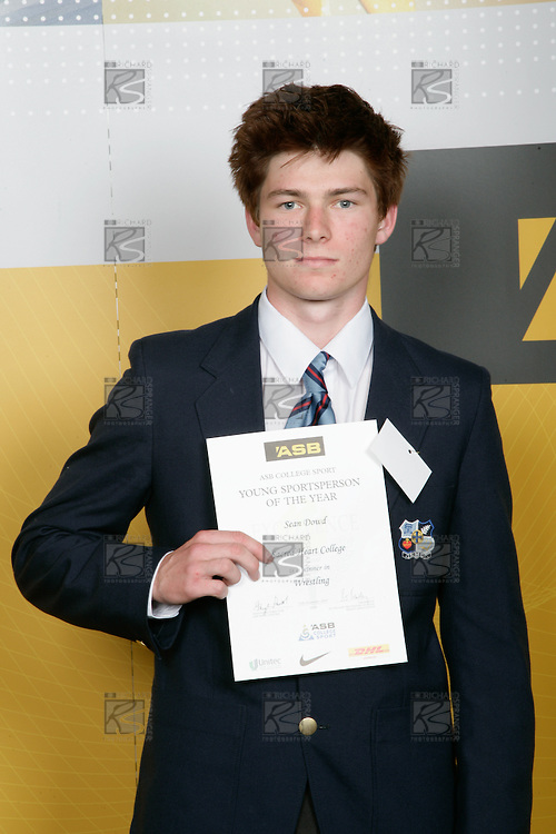 Boys Wrestling winner Sean Dowd. ASB College Sport Young Sportperson of the Year Awards 2007 held at Eden Park on November 15th, 2007.