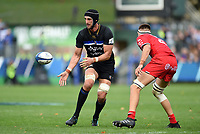 Luke Charteris of Bath Rugby passes the ball. Heineken Champions Cup match, between Bath Rugby and Stade Toulousain on October 13, 2018 at the Recreation Ground in Bath, England. Photo by: Patrick Khachfe / Onside Images