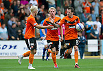 St Johnstone v Dundee United...27.08.11   SPL Week 5.Gary Mackay-Steven celebrates his goal with Johnny Russell and Danny Swanson.Picture by Graeme Hart..Copyright Perthshire Picture Agency.Tel: 01738 623350  Mobile: 07990 594431