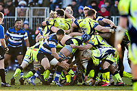 Forwards in action at a scrum. Aviva Premiership match, between Bath Rugby and Sale Sharks on February 24, 2018 at the Recreation Ground in Bath, England. Photo by: Patrick Khachfe / Onside Images