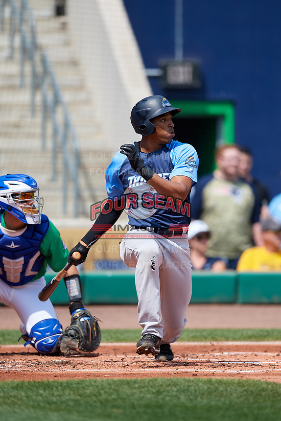 Trenton Thunder right fielder Rashad Crawford (20) follows through on a swing during a game against the Hartford Yard Goats on August 26, 2018 at Dunkin' Donuts Park in Hartford, Connecticut.  Trenton defeated Hartford 8-3.  (Mike Janes/Four Seam Images)