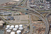 "Pearl Harbor Memorial ""Q"" Bridge, East Bound Approaches just west of Bridge. I95 I91 Route 34 Interchange Aerial Photograph. Showing Water Street vertical center, Long Wharf Drive left, Wooster Street and Ramp upper right and East Street bottom right."