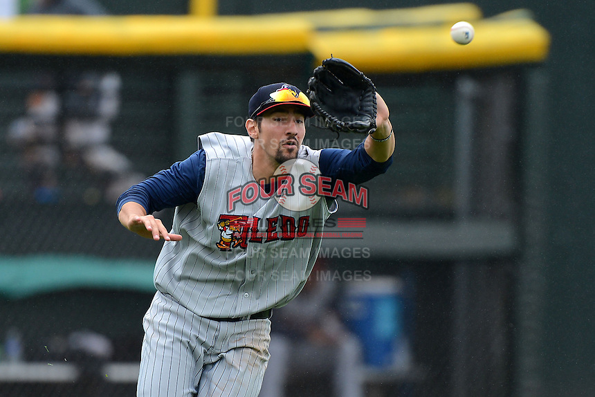 Toledo Mudhens outfielder Nick Castellanos #23 catches a fly ball during a game against the Rochester Red Wings on June 11, 2013 at Frontier Field in Rochester, New York.  Toledo defeated Rochester 9-5.  (Mike Janes/Four Seam Images)