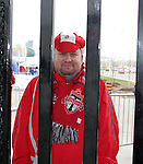 28 April 2007: A Toronto fan waits for the gates to the stadium to open. Major League Soccer expansion team Toronto FC lost 1-0 to the Kansas City Wizards in the inaugural game at BMO Field in Toronto, Ontario, Canada, the first MLS game played outside of the United States.
