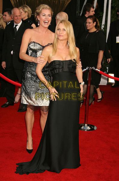 REBECCA ROMIJN & NICOLLETTE SHERIDAN.14th Annual Screen Actors Guild Awards held at the Shrine Auditorium, Los Angeles, California, USA..January 27th, 2008.arrivals SAG full length strapless black silver dress laughing lace .CAP/ADM/RE.©Russ Elliot/AdMedia/Capital Pictures. *** Local Caption *** .