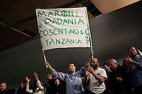 Varese: Matteo Salvini durante l'incontro tra Roberto Maroni e Umberto Bossi in un teatro di Varese