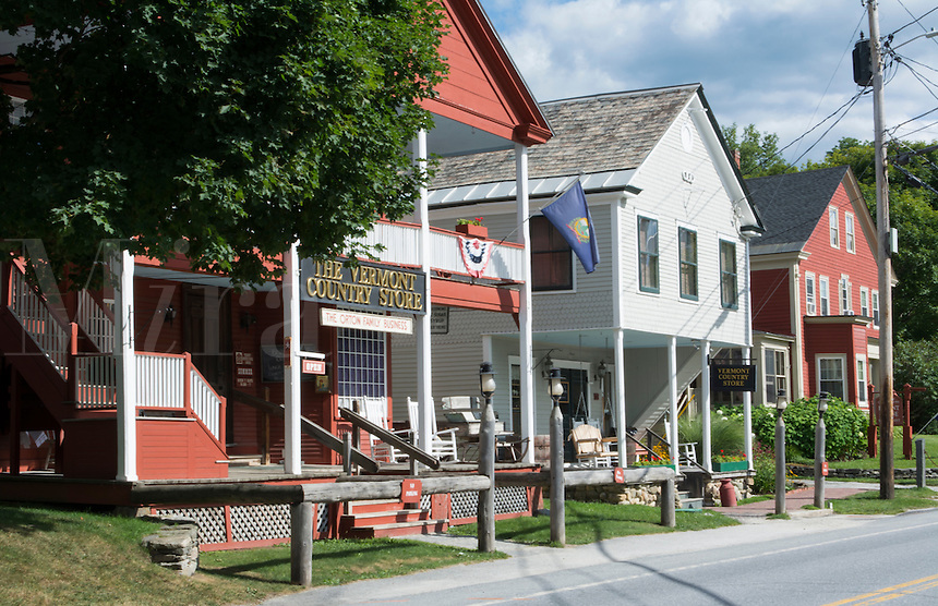 Weston Vermont small town The Vermont Store and shops Bryant House with flowers and road