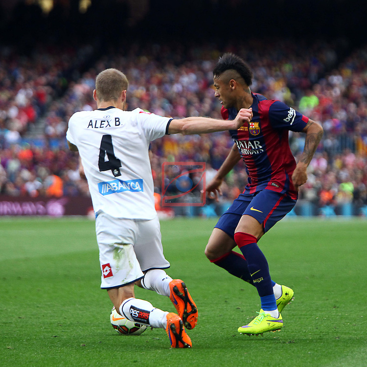 League BBVA 2014/2015. Game: 38.<br /> FC Barcelona vs Deportivo: 2-2.<br /> Alex vs Neymar.