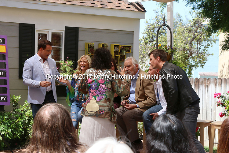 "LOS ANGELES - APR 14:  Mark Steines, Katherine Kelly Lang, Heather Tom, John McCook, Jacob Young, Karla Mosley, Darin Brooks at the ""Home and Family"" Celebrates ""Bold and Beautiful's"" 30 Years at Universal Studios Back Lot on April 14, 2017 in Los Angeles, CA"