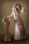 fantasy art image of dog dressed as female