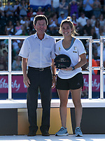 Junior player of the tournament Argentina's Lucina von der Heyde  with Andy Tapley (Chair of Stakeholder board)<br /> <br /> Photographer Hannah Fountain/CameraSport<br /> <br /> Vitality Hockey Women's World Cup - Awards ceremony - Sunday 5th August 2018 - Lee Valley Hockey and Tennis Centre - Stratford<br /> <br /> World Copyright &copy; 2018 CameraSport. All rights reserved. 43 Linden Ave. Countesthorpe. Leicester. England. LE8 5PG - Tel: +44 (0) 116 277 4147 - admin@camerasport.com - www.camerasport.com