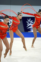 September 23, 2007; Patras, Greece;   (Center) Katarina Pisetsky performs with rhythmic group from Israel during event finals at 2007 World Championships Patras.    Israeli group qualified for  2008 Beijing Olympic Games.  Photo by Tom Theobald.