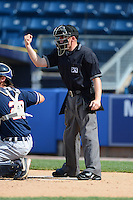 Umpire Rich Grassa during a NY-Penn League game between the Staten Island Yankees and Connecticut Tigers on July 7, 2013 at Richmond County Bank Ballpark in Staten Island, New York.  Staten Island defeated Connecticut 6-2.  (Mike Janes/Four Seam Images)