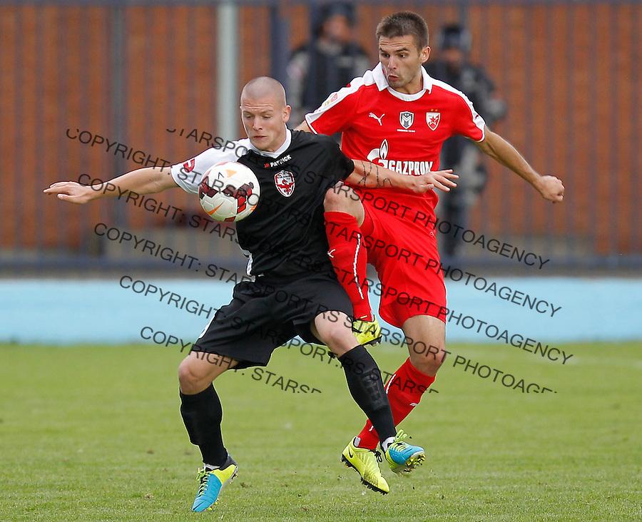 Fudbal Super liga season 2013-2014<br /> Vozdovac v Crvena Zvezda<br /> Ognjen Ozegovic (L) and Marko Petkovic<br /> Beograd, 22.09.2013.<br /> foto: Srdjan Stevanovic/Starsportphoto &copy;
