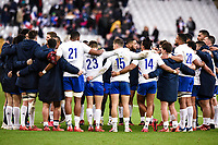 9th February 20020, Stade de France, Paris, France; 6-Nations international mens rugby union, France versus Italy; The French team huddle to discuss their win at the final whistle