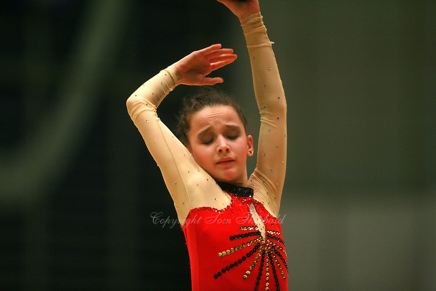 Monica Mincheva of Bulgaria expresses with ball at Burgas Grand Prix Rhythmic Gymnastics on May 6, 2006.   (Photo by Tom Theobald)