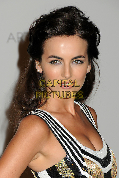 Camilla Belle.The Inaugural Art and Film Gala held at LACMA in Los Angeles, California, USA..November 5th, 2011.headshot portrait black white gold beige fringed tassels sleeveless sequins sequined.CAP/ADM/BP.©Byron Purvis/AdMedia/Capital Pictures.