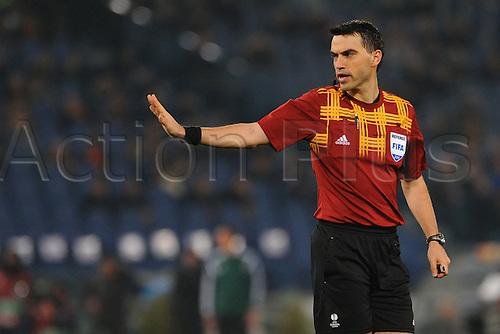 19.02.2015. Stadio Olimpico, Rome, Italy. Europa Cup football. AS Roma versus Feyenoord.  Referee Ovidiu Hategan (Rou)
