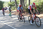 The breakaway group Sander Armee (BEL) Lotto-Soudal, Willem Jakobus Smit (RSA) Katusha Alpecin, Lastra Martinez (ESP) Caja Rural-Seguros-RGA and Angel Madrazo Ruiz (ESP) Burgos-BH during Stage 2 of La Vuelta 2019 running 199.6km from Benidorm to Calpe, Spain. 25th August 2019.<br /> Picture: Luis Angel Gomez/Photogomezsport | Cyclefile<br /> <br /> All photos usage must carry mandatory copyright credit (© Cyclefile | Luis Angel Gomez/Photogomezsport)
