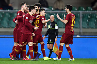 Stephan El Shaarawy of AS Roma celebrates with team mates after scoring goal of 0-1 <br /> Verona 8-2-2019 Stadio Bentegodi Football Serie A 2018/2019 Chievo Verona - AS Roma <br /> Foto Image Sport / Insidefoto