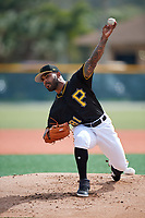 Pittsburgh Pirates pitcher Elvis Escobar (81) throws live batting practice during the teams first Spring Training practice on February 18, 2019 at Pirate City in Bradenton, Florida.  (Mike Janes/Four Seam Images)