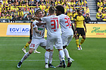 06.10.2018, Signal Iduna Park, Dortmund, GER, DFL, BL, Borussia Dortmund vs FC Augsburg, DFL regulations prohibit any use of photographs as image sequences and/or quasi-video<br /> <br /> im Bild Philipp Max (#31, FC Augsburg) jubelt nach seinem Tor zum 1:1 mit Andre Hahn (#28, FC Augsburg) Caiuby (#30, FC Augsburg) <br /> <br /> Foto &copy; nph/Horst Mauelshagen