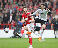 Nottingham Forest's Ben Brereton in action with Derby County's Tom Lawrence<br /> <br /> Photographer Mick Walker/CameraSport<br /> <br /> The EFL Sky Bet Championship - Nottingham Forest v Derby County - Sunday 11th March 2018 - The City Ground - Nottingham<br /> <br /> World Copyright &copy; 2018 CameraSport. All rights reserved. 43 Linden Ave. Countesthorpe. Leicester. England. LE8 5PG - Tel: +44 (0) 116 277 4147 - admin@camerasport.com - www.camerasport.com
