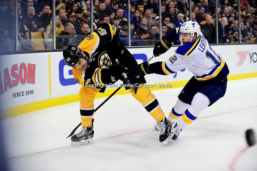 Tuesday, November 22, 2016: Boston Bruins defenseman Adam McQuaid (54) beats St. Louis Blues center Jori Lehtera (12) to the puck during the National Hockey League game between the St. Louis Blues and the Boston Bruins held at TD Garden, in Boston, Mass. The Blues defeat the Bruins 4-2. Eric Canha/CSM