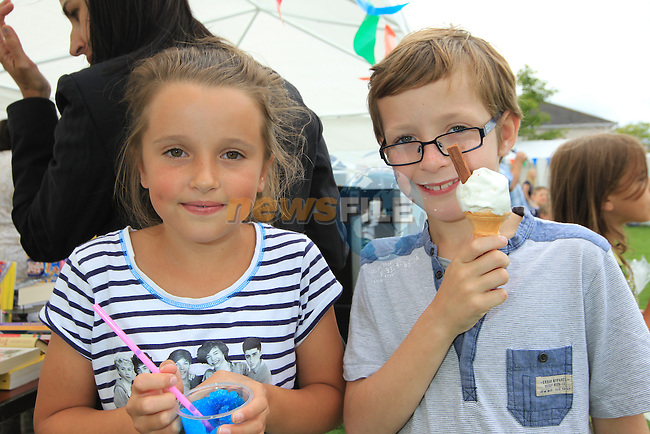 Antonia Vultur and Sam Behn<br /> at the Highlands sports day <br /> Picture www.newsfile.ie