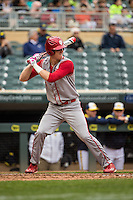 Logan Sowers (2) of the Indiana Hoosiers bats during a 2015 Big Ten Conference Tournament game between the Michigan Wolverines and Indiana Hoosiers at Target Field on May 20, 2015 in Minneapolis, Minnesota. (Brace Hemmelgarn/Four Seam Images)