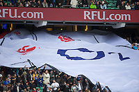 General view of a huge England shirt being passed around the stadium before the QBE International between England and Fiji at Twickenham on Saturday 10th November 2012 (Photo by Rob Munro)