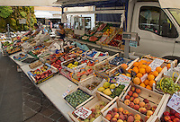 Fruit and vegetable outside stall at Iseo, Lake Iseo, Lombardy, Italy.