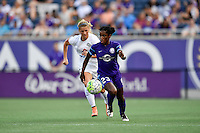 Orlando, FL - Saturday Sept. 24, 2016: Jasmyne Spencer, Katie Bowen during a regular season National Women's Soccer League (NWSL) match between the Orlando Pride and FC Kansas City at Camping World Stadium.