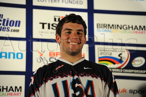 05.27.2012. England, Birmingham, National Indoor Arena. UCI BMX World Championships. Podium trio for the Cruisers Men 17 -24 Finals at the NIA. ..Justin Dyar (USA) 2nd......