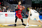 Real Madrid Klemen Prepelic and CSKA Moscow Daniel Hackett during Turkish Airlines Euroleague match between Real Madrid and CSKA Moscow at Wizink Center in Madrid, Spain. November 29, 2018. (ALTERPHOTOS/Borja B.Hojas)