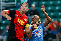 Rochester, NY - Friday July 01, 2016: Western New York Flash midfielder Abby Erceg (6), Chicago Red Stars defender Casey Short (6) during a regular season National Women's Soccer League (NWSL) match between the Western New York Flash and the Chicago Red Stars at Rochester Rhinos Stadium.