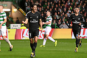 12th September 2017, Glasgow, Scotland; Champions League football, Glasgow Celtic versus Paris Saint Germain;  09 EDINSON CAVANI (psg) - 06 MARCO VERRATTI (psg) celebrate Cavani's goal