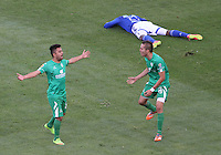 BOGOTA -COLOMBIA, 7-MARZO-2015. Juan Villota  de La Equidad  celebra su gol  contra Millonarios durante la octava fecha de La Liga Aguila jugado en el estadio Nemesio Camacho El Campin . /  Juan Villota  of  La Equidad  celebrates his goal  against   of Millonarios during the eight round of La Liga Aguila played at the Nemesio Camacho El Campin  stadium in Bogota. Photo / VizzorImage / Felipe Caicedo  / Staff