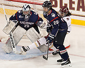 Elaine Chuli (UConn - 29), Kayla Mee (UConn - 28), Megan Keller (BC - 4) - The Boston College Eagles defeated the visiting UConn Huskies 4-0 on Friday, October 30, 2015, at Kelley Rink in Conte Forum in Chestnut Hill, Massachusetts.