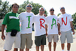 11 June 2006: A Mexico fan poses with four Iran fans before the game. Mexico played Iran at the Frankenstadion in Nuremberg, Germany in match 7, a Group D first round game, of the 2006 FIFA World Cup.