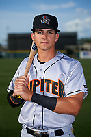 Jupiter Hammerheads J.J. Gould (20) poses for a photo before a game against the Lakeland Flying Tigers on April 17, 2017 at Joker Marchant Stadium in Lakeland, Florida.  Lakeland defeated Jupiter 5-1.  (Mike Janes/Four Seam Images)