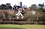 Nucleated village buildings clustered around church, Tuddenham St Martin, Suffolk