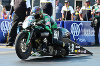 Sept. 22, 2012; Ennis, TX, USA: NHRA pro stock motorcycle rider Andrew Hines during qualifying for the Fall Nationals at the Texas Motorplex. Mandatory Credit: Mark J. Rebilas-